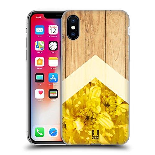 Head Case Designs Crisantemo Estampados de Madera Natural Carcasa de Gel de Silicona Compatible con Apple iPhone X/iPhone XS