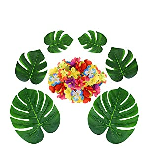 Coodoo 96pcs Tropical Palm Leaves Decorations Jungle Theme Party Supplies Hibiscus Flowers and Artificial Monstera leaf Decor for Hawaiian Aloha Luau Party BBQ Birthday Beach Wedding