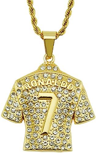 BAIYAN Hiphop Halskette, Halskette Europäischen Stil Hip-Hop Persönlichkeit Trend voll von S Nein 7 Jersey Anhänger Dreidimensionale Männer S-Halskette in goldenem Gelb (Trikot) -0 375cm Twist-Kette
