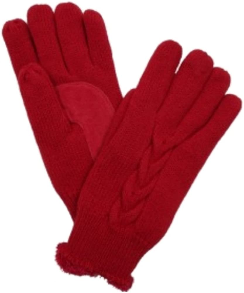 Isotoner Womens Red Cable Knit Gloves with Soft Microluxe Lining
