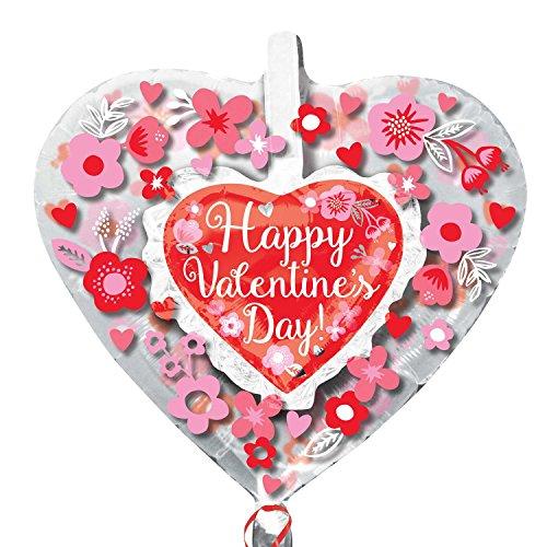 amscan 3418301 26 x 66 cm Happy de Saint-Valentin Cœur avec Fleurs Insiders Foil Ballons