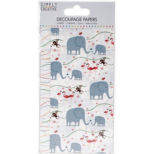 Trimcraft eenvoudig creatief decoupage papier 18,8 cm x 35 cm hazen, acryl, veelkleurig, 4,07 x 8,17 x 0,1 cm