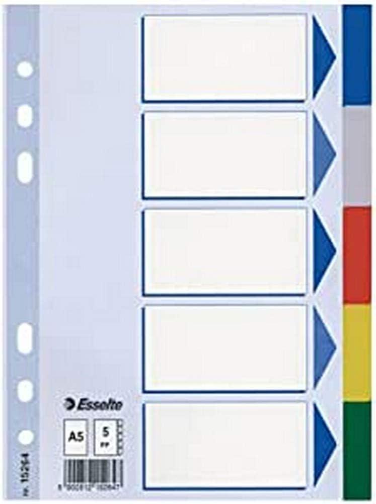 Deckblatt und Trennbl/ätter,Trennlaschen 5-teiliges,aus pp Mehrfarbig 5er Pack Register f/ür A4