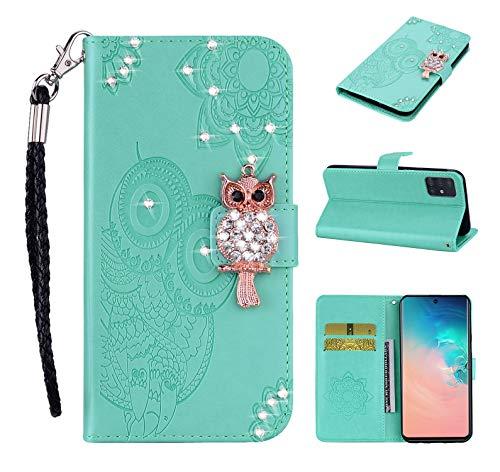 Lederhülle kompatibel mit Samsung Galaxy S20 FE / S20 Lite Hülle Glitzer Diamant Bling Eule Grün Handyhülle Handy Tasche Flip Hülle Cover Schutzhülle mit Kartenfach für Mädchen Frauen