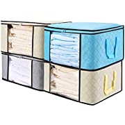 """Senbowe Large Foldable Clothes Storage Bags, [4 Pack] Collapsible Storage Bag Organizers, Large Clear Window, Handles, Zippers,for Clothes, Blankets, Closets, Kitchen, Bedrooms - (21.7 x 15.7 x 9.8"""")"""