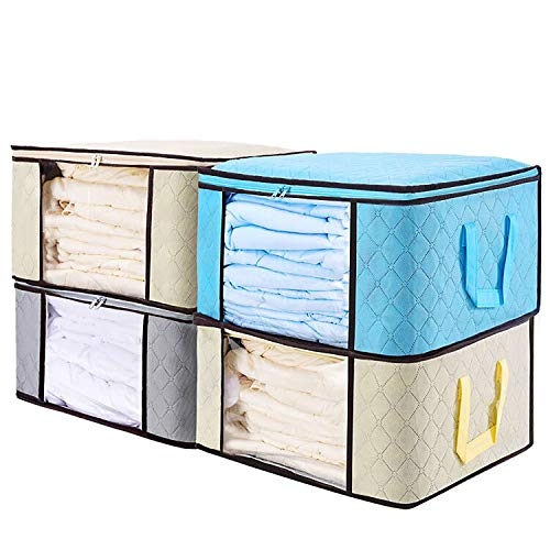 """Senbowe Large Foldable Clothes Storage Bags, [4 Pack] Collapsible Storage Bag Organizers, Large Clear Window, Handles, Zippers,for Clothes, Blankets, Closets, Dorm, Bedrooms - (21.7 x 15.7 x 9.8"""")"""