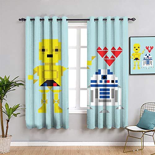 Love Star Wars Robots Cortinas opacas con ojales y aislamiento térmico, cortinas opacas de 84 x 84 pulgadas