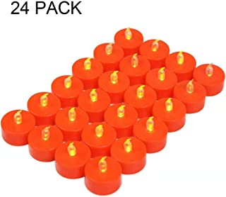 Tappovaly 24 Pack LED Halloween Tea Lights candles , Flickering Flameless Tealight Candle – Long Lasting Battery Operated Fake tea lights – Decoration for Wedding, Party and Christmas (Orange)