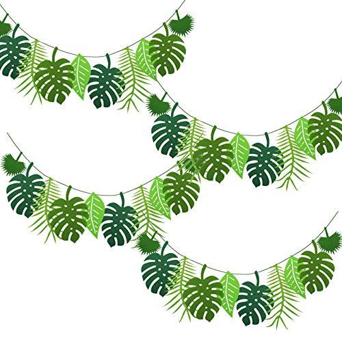 GLAITC Decorazioni per Feste Tropicale Hawaiano Luau,Ghirlanda Hawaiana Aloha Party Decoration Ghirlanda Tropicale Hawaiana Ananas/Foglia Tropicale Banner Ghirlanda di Palme Tropicali Felt Leaf