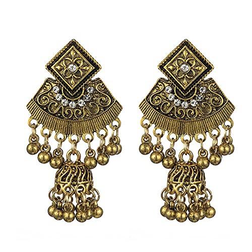 feichang Pendientes vintage de color dorado con forma de campanilla de pájaro y borlas colgantes para mujeres, joyería gitana (color metal: oro)