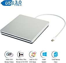 External CD DVD Drive USB-C USB 3.0 Type-C Slim Optical Portable Burner/Writer/Reader Drive Player High Speed Data Transfer for Mac MacBook Pro Air iMac Desktop and Laptop Windows 10/8/7/XP/Vista