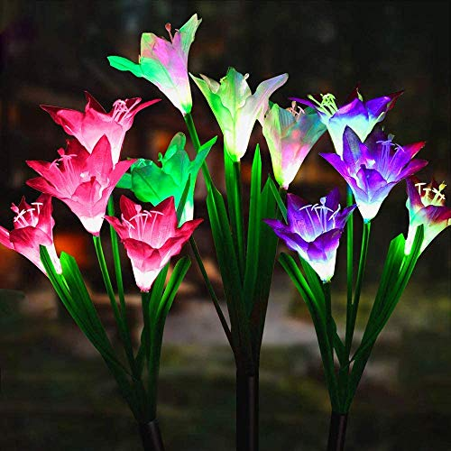 CREPRO Outdoor Solar Garden Stake Lights, 3 Pack Solar Powered Lights with 12 Lily Flower, Multi-Color Changing LED Solar Decorative Lights for Garden, Patio Lawn Path, Backyard