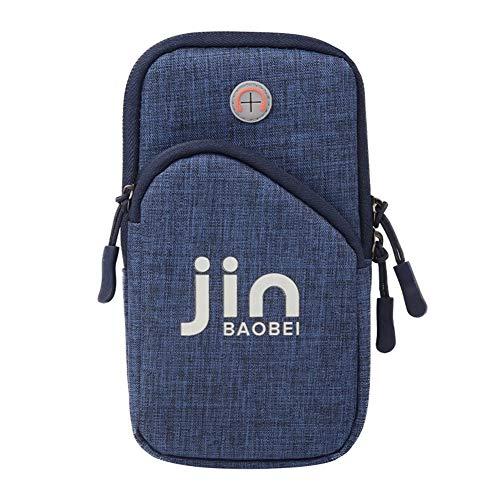 HEYIHUI Sport Armtasche, Armband Hülle Arm Tasche Handy Schlüssel Halter Outdoor Rennen Sportarmband für Handy iPhone 7/6/6s/5/SE/iPod, S5/S4/S3, LG (Blau)