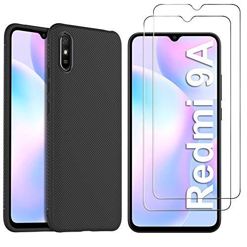 iBetter Hülle + Panzerglas Bildschirmschutzfolie(2 Stück) für Xiaomi Redmi 9A, Stylisch Design Silikon Hülle Handyhülle Schutzhülle Shock Absorption Hülle passt für Xiaomi Redmi 9A Smartphone, Schwarz