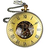 80MM Extra Large Glass Ball Mens Antique Mechanical Pocket Watch Roman Numerals Desktop Copper Skeleton Dial with Chain
