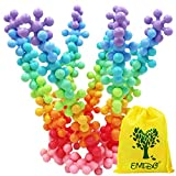 EMIDO Building Blocks Kids Educational Toys STEM Toys Building Discs Sets Interlocking Solid Plastic for Preschool Kids Boys and Girls, Safe Material for Kids - 90 Pieces with Storage Bag