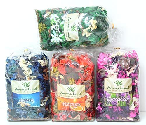 Aroma Land Potpourri 4 x 80 g - Orange, Lavendel, Jasmin, Ozean. Zum Entspannen und Dekorieren des Hauses. Raumduft, Lufterfrischer, Blüten, Natur, Getrocknete Pflanzen