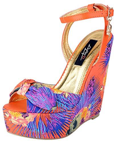 Iron Fist Damen Schuhe Reina Muerte Riemchen Wedges Pumps (37 EU, Orange/Bunt)
