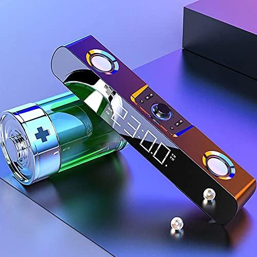 Altoparlante multimediale, subwoofer Bluetooth con Display a LED Orologio con soundbar con visualizzazione dell'ora per TV Altoparlante per Computer per Home Theater