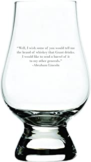 Abraham Lincoln Quote Etched Glencairn Crystal Whisky Glass