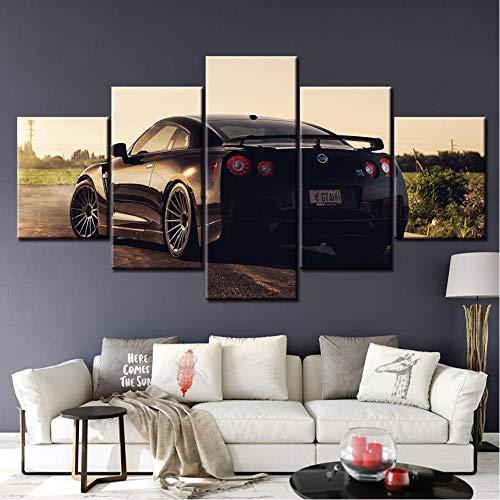 WWALL Vehículos De 5 Paneles Sintonizados Nissan Gtr Black Strakes Ver En Lienzo Impresión Obra De Arte Decoración Moderna Para El Hogar Pared 20X35 20X45 20X55Cm No Frame