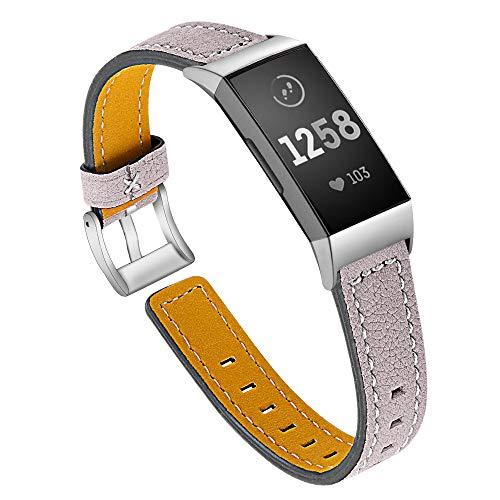 XIALEY Brazalete para Fitbit Charge 3 / Fitbit Charge 4, Correas De Cuero De Repuesto para Mujer, Pulsera Deportiva Banda Rastreador De Ejercicios, Accesorios para Fitbit Charge 3 / Charge 4,E