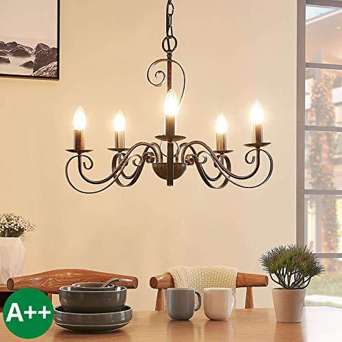 Lucande Kronleuchter 'Caleb' dimmbar (Landhaus, Vintage, Rustikal) in Braun aus Metall u.a. für Flur & Treppenhaus (5 flammig, E14, A++) - Pendelleuchte, Hängelampe, Lüster, Lampe, Deckenleuchte