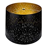 Metal Etching Process Large Lamp Shades, Alucset Drum Big Lampshades for Table Lamp and Floor Light, Sky Stars Design, 12x14x10 inch, Spider (Black / Gold)