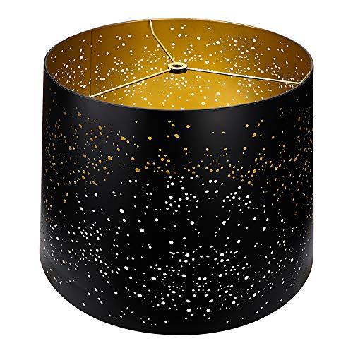 Metal Etching Process Large Lamp Shades, Alucset Drum Big Lampshades for Table Lamp and Floor Light, Sky Stars Design, 12x14x10 inch,Spider (Black/Gold)