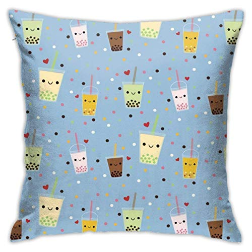 Cushion Case,Happy Boba Bubble Tea Throw Pillow Cover Great Cushion Cover Drawing Room Thanksgiving Gift,45X45cm