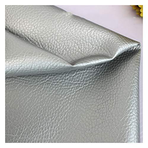 Cuero de imitación Tela Cuero sintético Vinilo Paño de cuero Material de tela Polipiel Tela De Polipiel Tapicería Tejidos Tela de grano de cuero de imitación material texturizado -Gris plata 1.38x7m