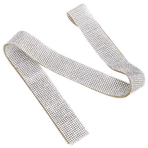Jeanoko Resistencia a altas temperaturas, cinturón de diamante de cristal con adhesivo, cristal y cristal de cristal de diamante, para fiesta vestir para decorar ropa (blanco)
