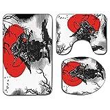 3Pcs Alfombra de baño antideslizante Juego de tapa de asiento de inodoro Estera de baño suave antideslizante japonesa Retrato de aristócrata educado experto Caballero antiguo con arma Imagen de hombre