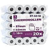 Papel térmico 57mm x 18m x 12mm - Ideal para máquinas de tarjetas de Crédito - Rollos ideal para todos los TPV y las impresora térmica - (57x40x12) Blanco -Sin BPA (20 Rollos)