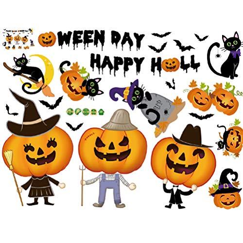 Amosfun 2 sätze Halloween wandtattoos Aufkleber fensterbilder kürbisse Katzen fledermäuse wandtattoo für Shop Home bar