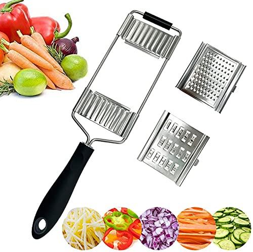 Gemüsehobel, 3 In 1 Küchenreibe Reibe Edelstahl Gurkenhobel, Multifunktion Mandoline Kartoffelreibe - Spülmaschinengeeignet