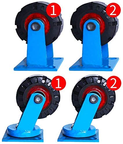 IMWANN ZXG 4 Castor Wheels Heavy Duty Ruedas giratorias de Ruedas de Goma Ruedas for Muebles Tabla Trolley Bed Banco de Trabajo, 6 Pulgadas Ruedas