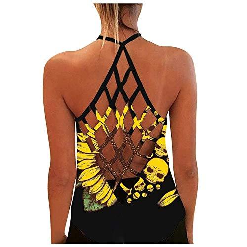 Ärmelloses Yoga-Workout-Tanktop für Frauen im Sommer Rückenlose, Bedruckte Tunika-Oberteile Locker geschnittenes Laufübungs-T-Shirt