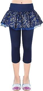 OioTuyi Stars Falda de Polainas para niñas 3/4 Falda de Capri Volantes Faldas de impresión elástica para niños de 3 a 10 años