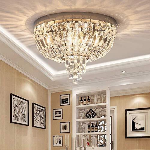 Flush Mount Crystal kroonluchter, grote luxe ronde plafondlamp met 2 lagen kristallen hanglamp voor slaapkamer woonkamer