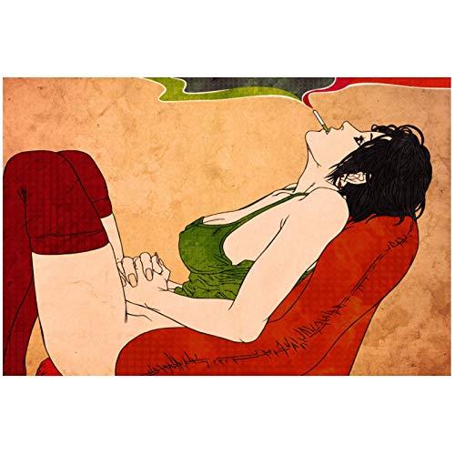 Wandbild Zusammenfassung Sexy Frau Rauchen In Sofa Wandkunst Leinwand Stoff Poster Für Raumdekoration Home Decoration-24X36In No Frame