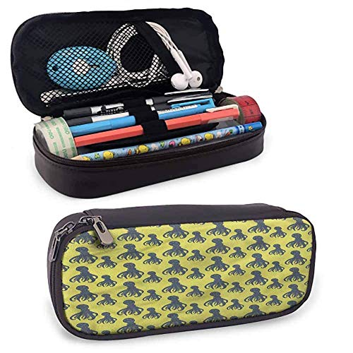 Big Capacity Pen Marker Holder Storage Ocean Leather Zip-Lock Cosmetic Makeup Pouch Bag Pen Pencil Case, Windy Baltic Sea Shore Coast Small Cute Stand-Up Waterproof Dust-Free 8