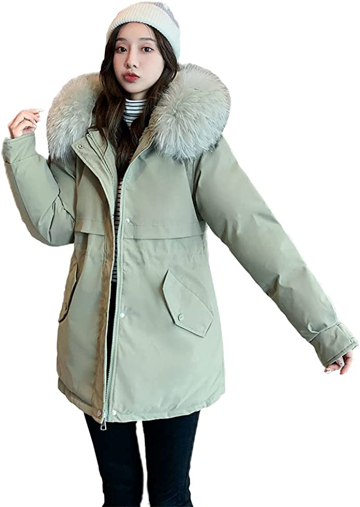 chouyatou Women's Windproof Quilted Sherpa Lined Faux Fur Hooded Parka Coat Jacket