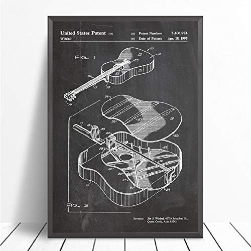 QAZEDC kunstdruk linnendecoratie schilderij gitaarpatent blauwe pauze muurkunst canvas schilderij vintage poster en prints akoestische gitaar wandschilderijen huis room decoratie