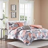 Intelligent Design Comforter Set Vibrant Floral Design, Teen Bedding for Girls Bedroom Mathcing Sham, Decorative Pillow, Full/Queen, Marie, Coral