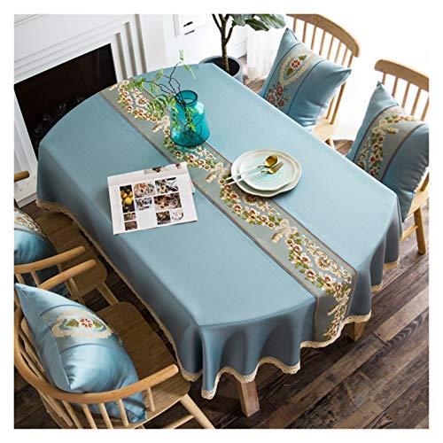 yywl Tischdecke Langes ovales Tischdecke Tuch Luxus Euro-Stil Ovale Tischdecke für Hochzeit/Party/Bankett bestickte Tischdecke für Wohnkultur (Color : B Light Blue, Specification : 120x170cm)