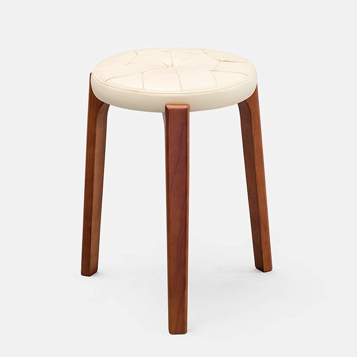 HLQW Creative Small Stool, Solid Wooden Dining Stool, Square Stool, Dressing Stool, Simple Fashionable Dressing Stool, Bench, Household Stool, Brown Leg 2