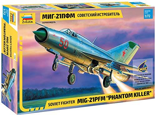 Zvezda 500787202 500787202-1:72 MiG-21 PFM Soviet Fighter (WA) -Plastikbausatz-Modellbausatz-Zusammenbauen-Bausatz-für Einsteiger-detailliert, Silber