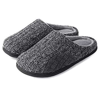 ULTRAIDEAS Men s Cashmere Cotton Knitted Slippers with Cozy Memory Foam and Fuzzy Coral Fleece Lining Slip on Clog House Shoes with Anti-Skid Indoor Outdoor Rubber Sole Grey Size 9-10  Medium