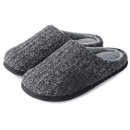 ULTRAIDEAS Men's Cashmere Cotton Knitted Slippers with Cozy Memory Foam and Fuzzy Coral Fleece Lining, Slip on Clog House Shoes with Indoor Outdoor Rubber Sole (Grey, 11-12)